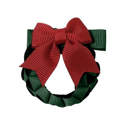 Christmas Wreath Hair Clip - Scarlet Red