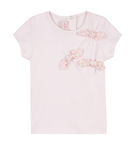 Girls Pink Bow T-Shirt