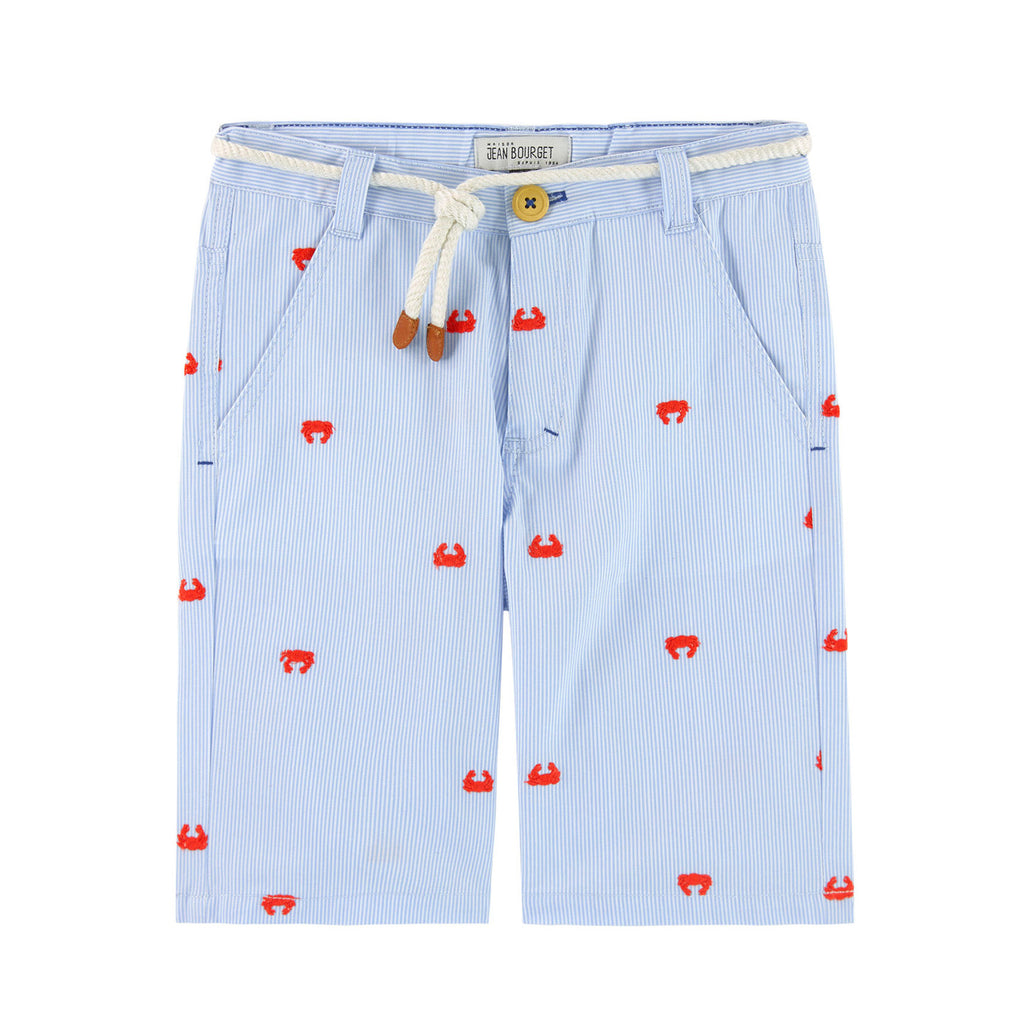 Boys Striped Shorts with Crab Embroidery
