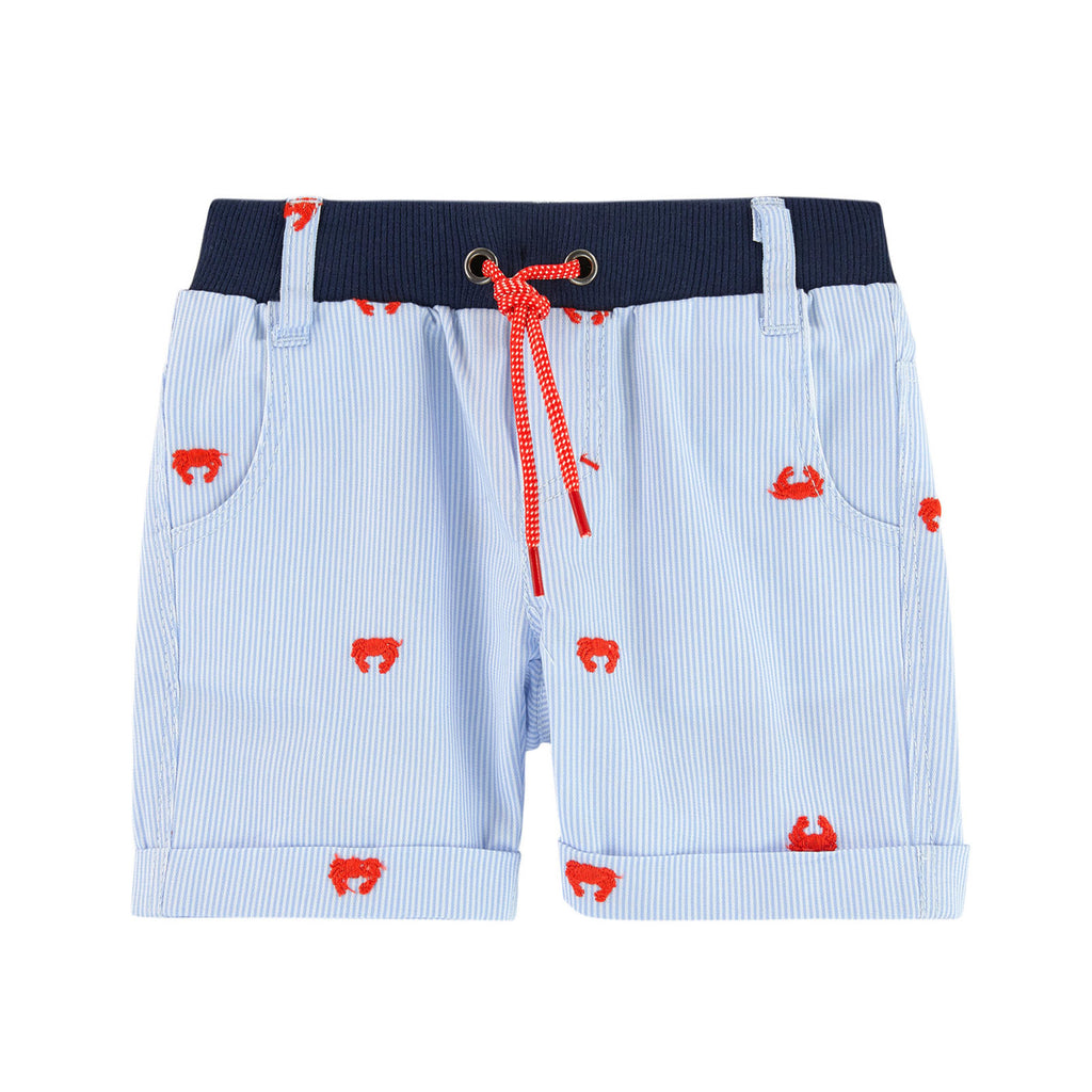 Baby Boys Striped Shorts with Crab Embroidery