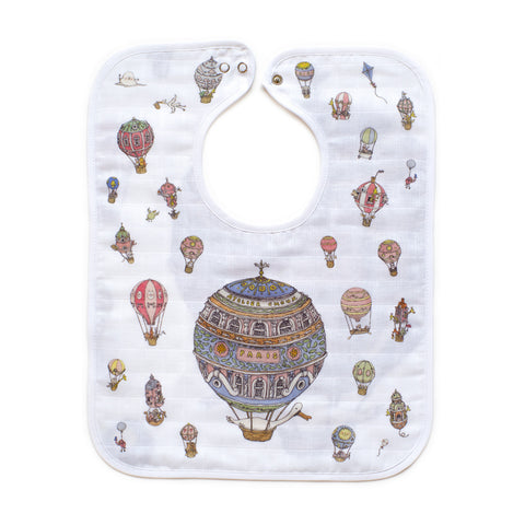 GOTS Certified Organic Large Bib - Hot Air Balloons