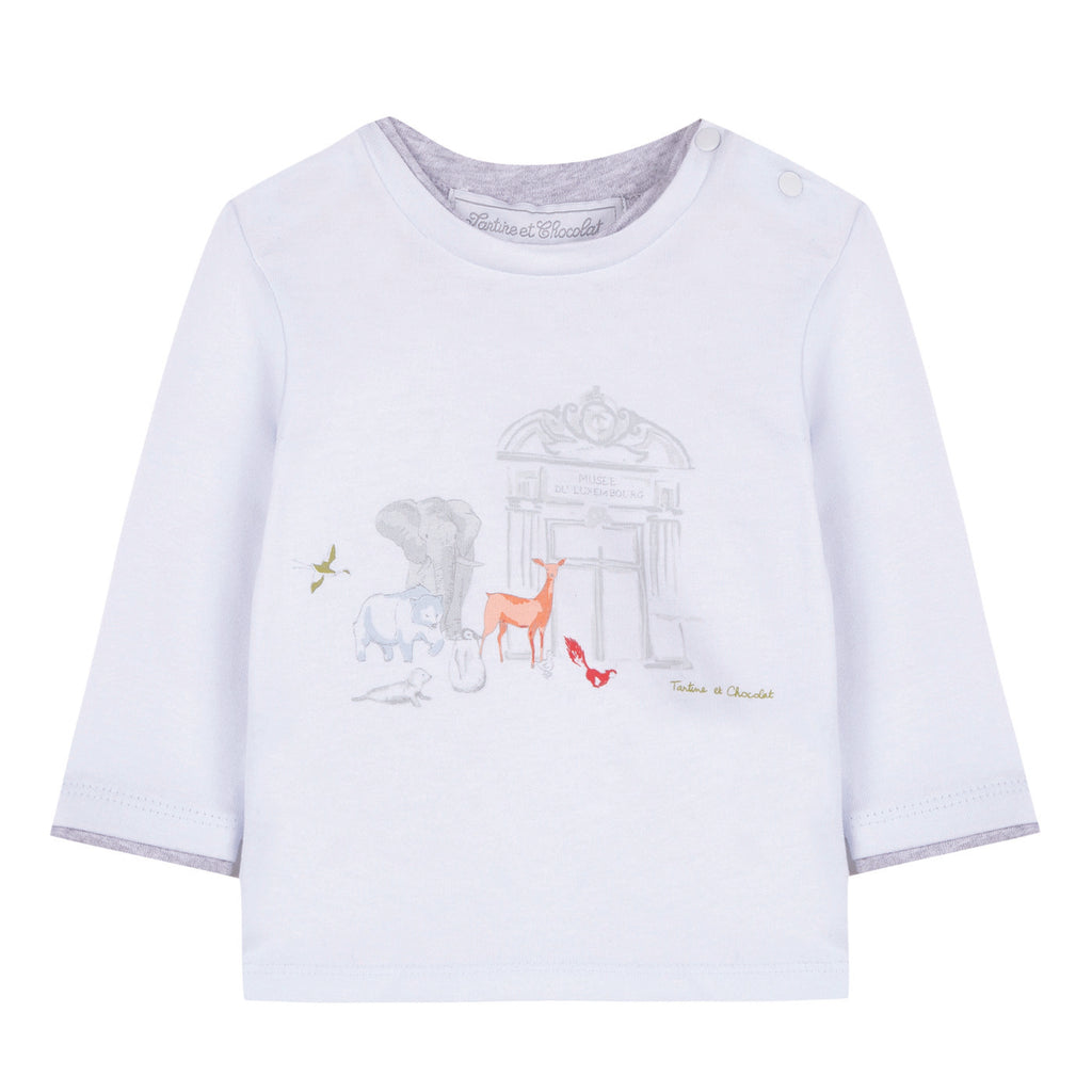 Baby Boys Sky Blue Animals Print T-shirt