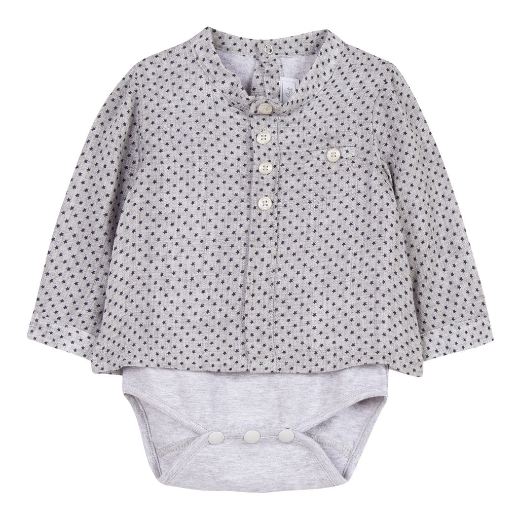 Baby Boys Shirt Bodysuit with Star Print