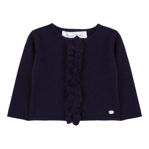 Navy Cardigan with Ruffled Fastening