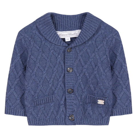 Horizon Blue Cable-Knit Cardigan