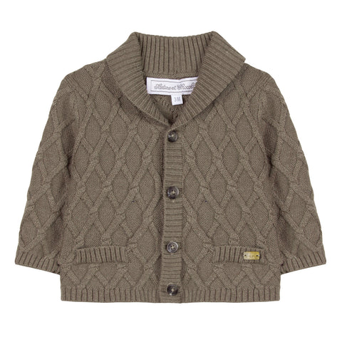 Brown Marl Cable-Knit Cardigan