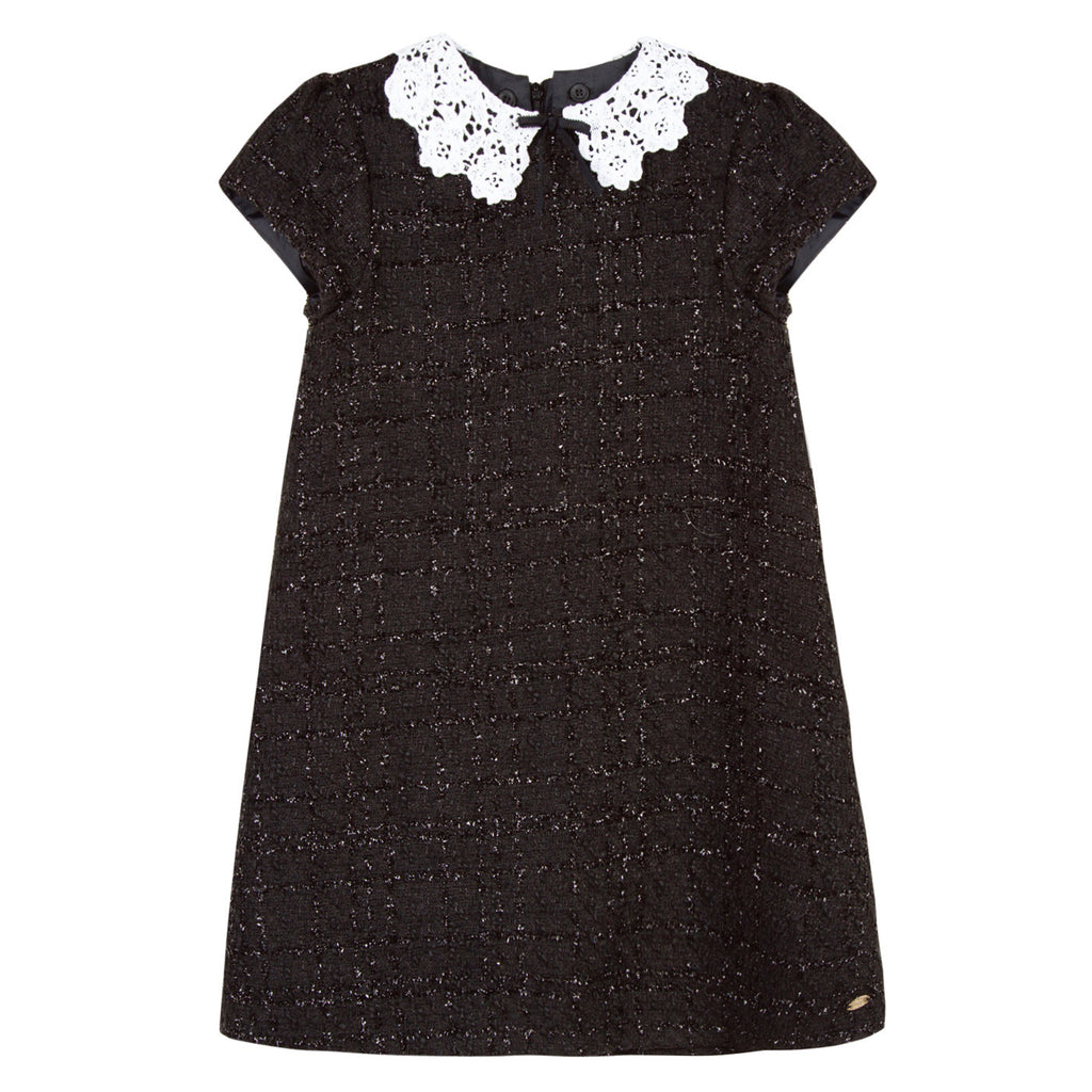 Girls Black Tweed and Guipure Lace Dress