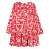 Girls Red Dress with Club Print