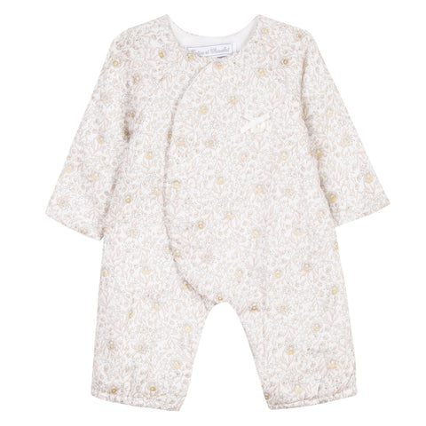 Mother-of-Pearl Floral Print Overall