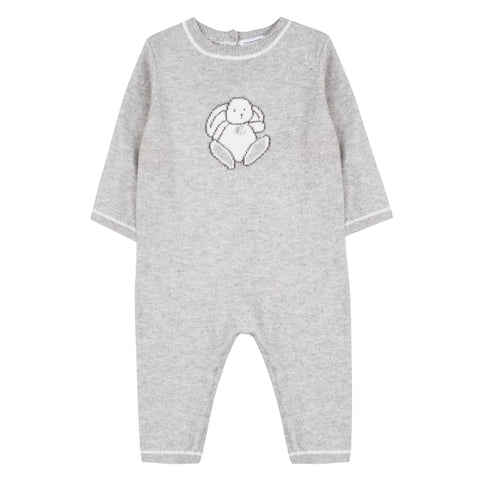 Baby Grey marl Augustin the Rabbit Onesie