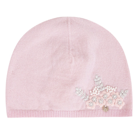 Baby Girls Pale Pink Hat with Floral Embroidery
