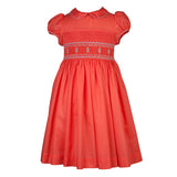 Girls Penelope Smock Dress-Coral
