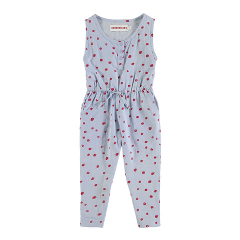 Girls Organic Cotton Mini Dots Jumpsuit