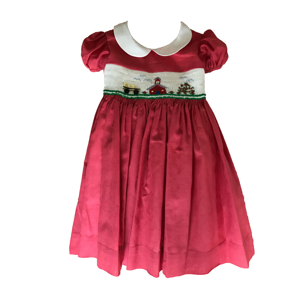 Girls Petit Ecolier Smock Dress-Cherry