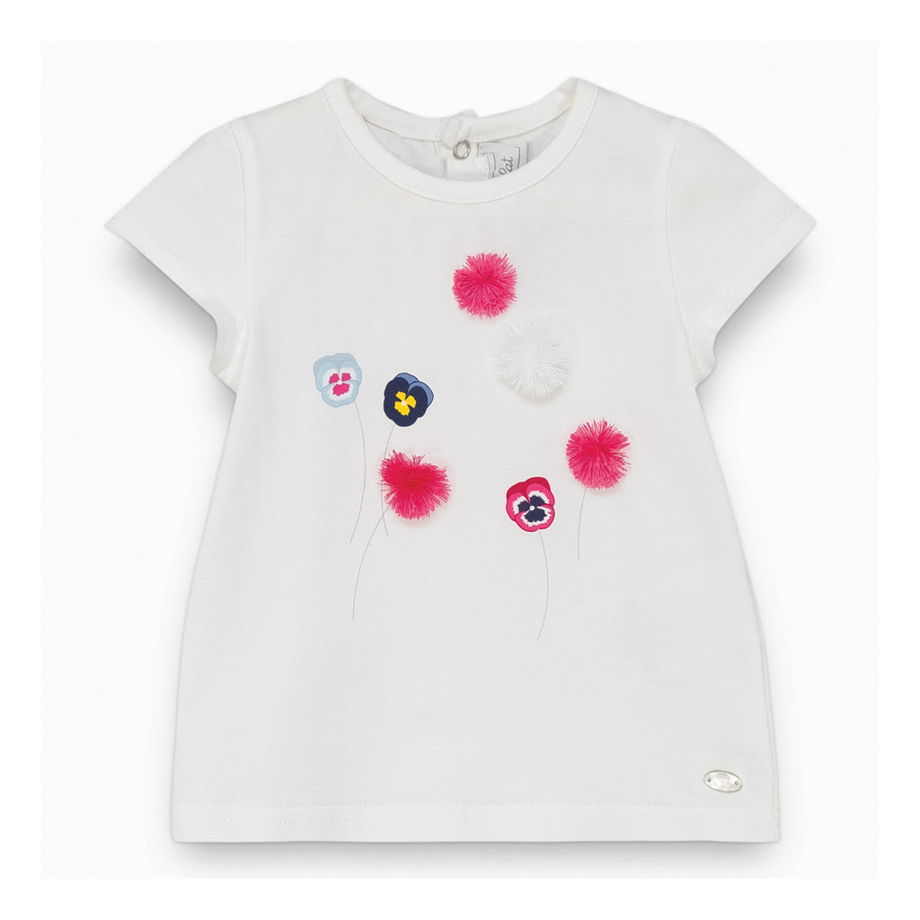 Baby Girls White Pompom T-shirt