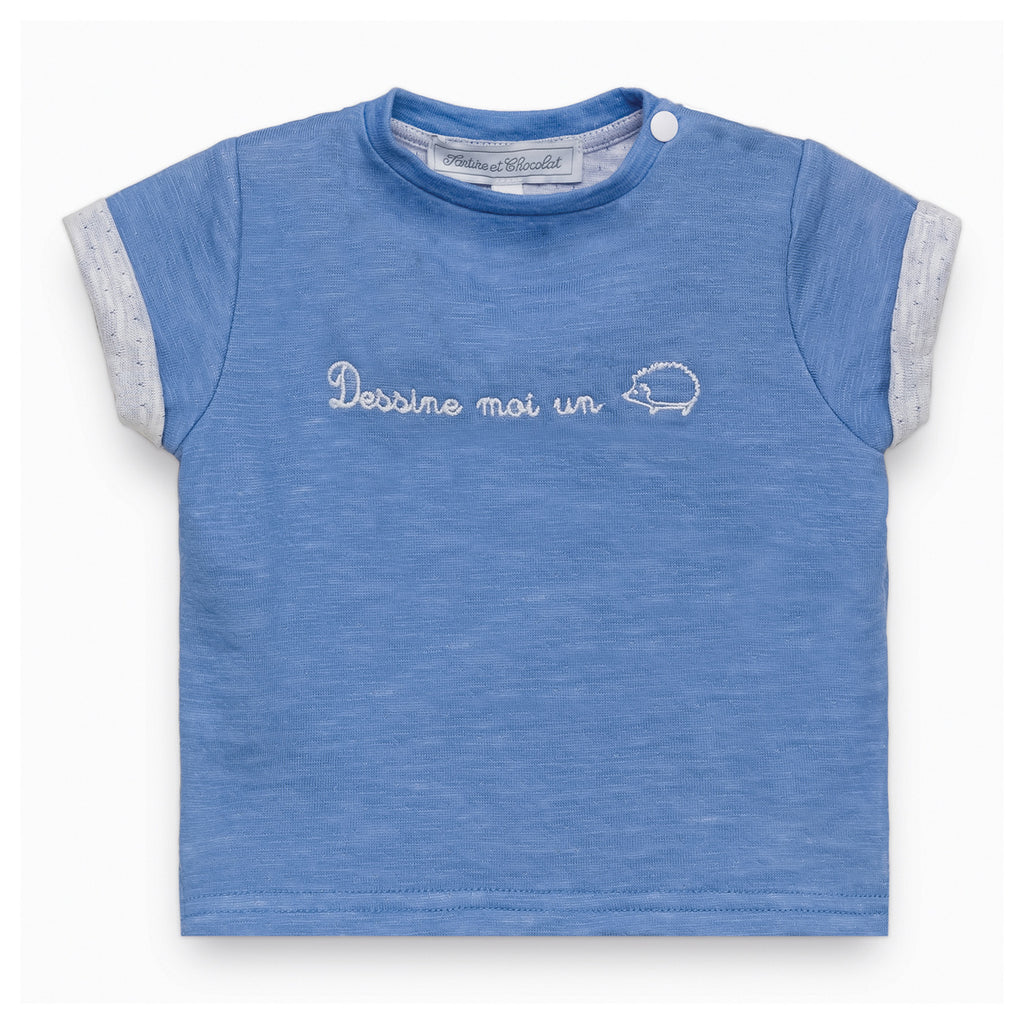 Baby Boys Ocean Blue Hedgehog T-shirt