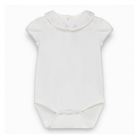 Baby Girls White Bodysuit with Embroidery