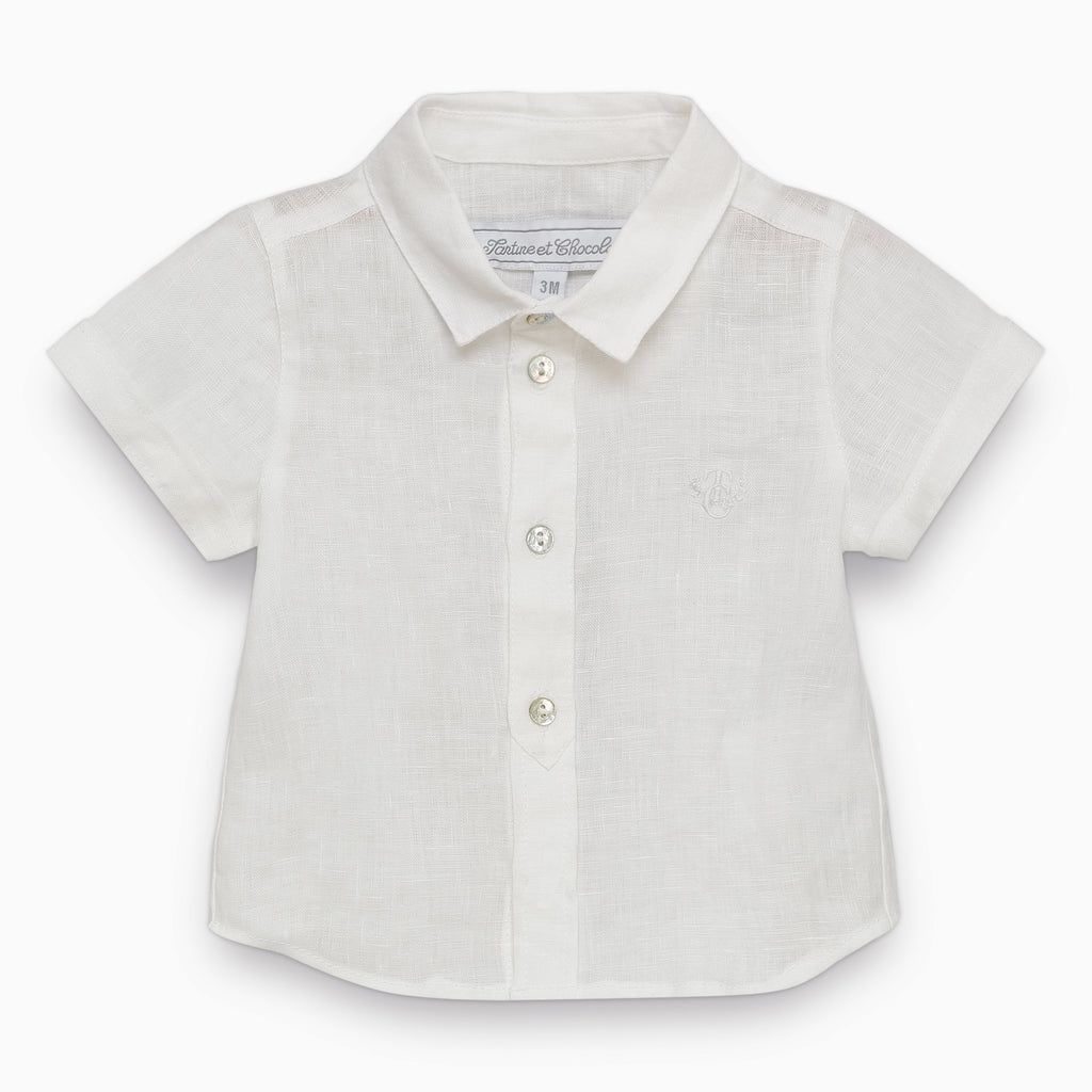 Baby Boys White Short-Sleeved Shirt