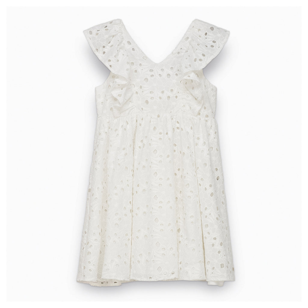 Girls White Broderie Anglaise Dress