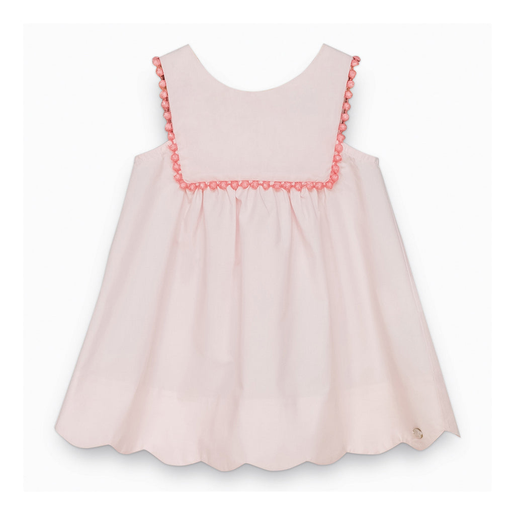 Baby Girls Pale Pink Dress with Pompoms