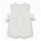 Two-tone White Swiss Dot Romper Suit