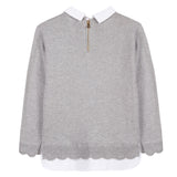 Girls Grey Marl Jumper with Collar