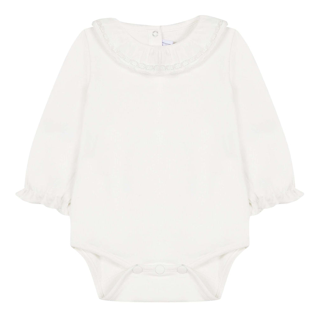 Baby Girls Mother-of-Pearl Bodysuit with Ruffled Lace Collar