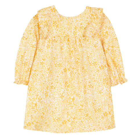 Baby Girls Saffron Dress with Floral Print