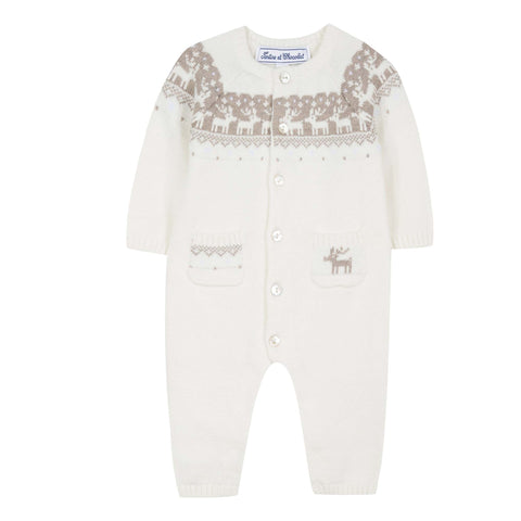 Mother-of-Pearl Deer Long-Sleeved Romper Suit - Pearl