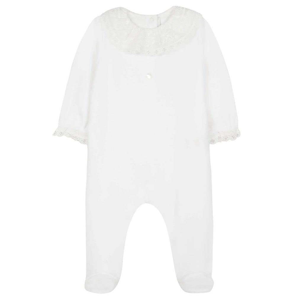 Baby Girls Mother-of-Pearl Sleepsuit with Lace Collar
