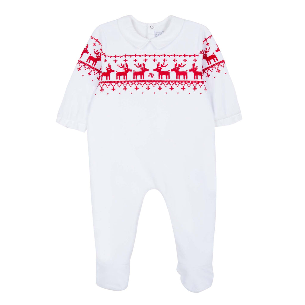 White Sleepsuit with Deer Embroidery