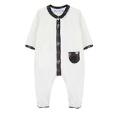 Baby Boys Mother-of-Pearl Tartan Sleepsuit with Deer