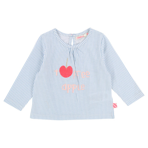Baby Girls Long Sleeve Tee with Apple Graphic
