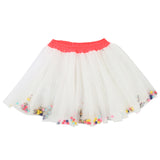 Girls Party Tulle Skirt with Sequins and Pompoms Inside