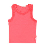 Girls Jersey Tank Top with Mesh Ruffle Trim