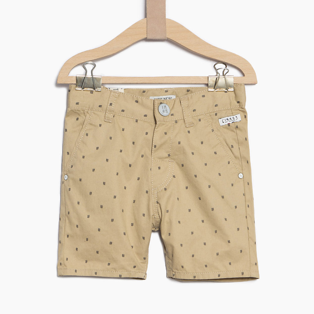 Boy's Beige Shorts with All Over Print