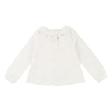 Girls Long Sleeve Poplin Blouse with Ruffled Collar
