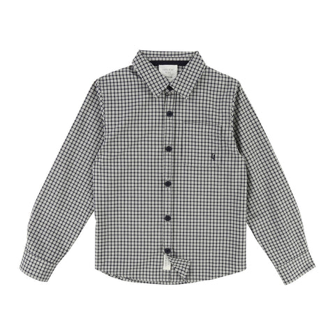 Boys Grey Check Cotton Shirt