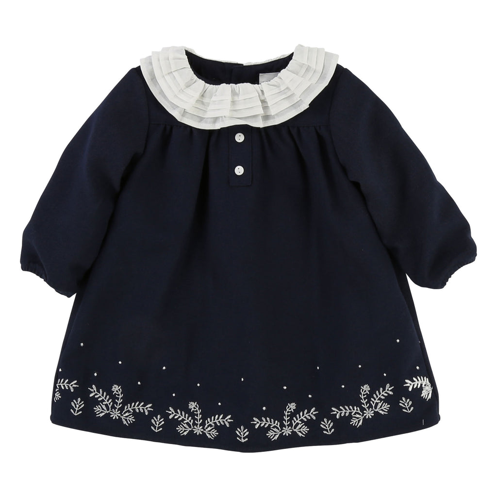 Baby Girls Flannel Dress with Floral Embroidery