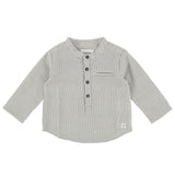 Baby Boy Tunisian Collar Shirt with Check Pattern