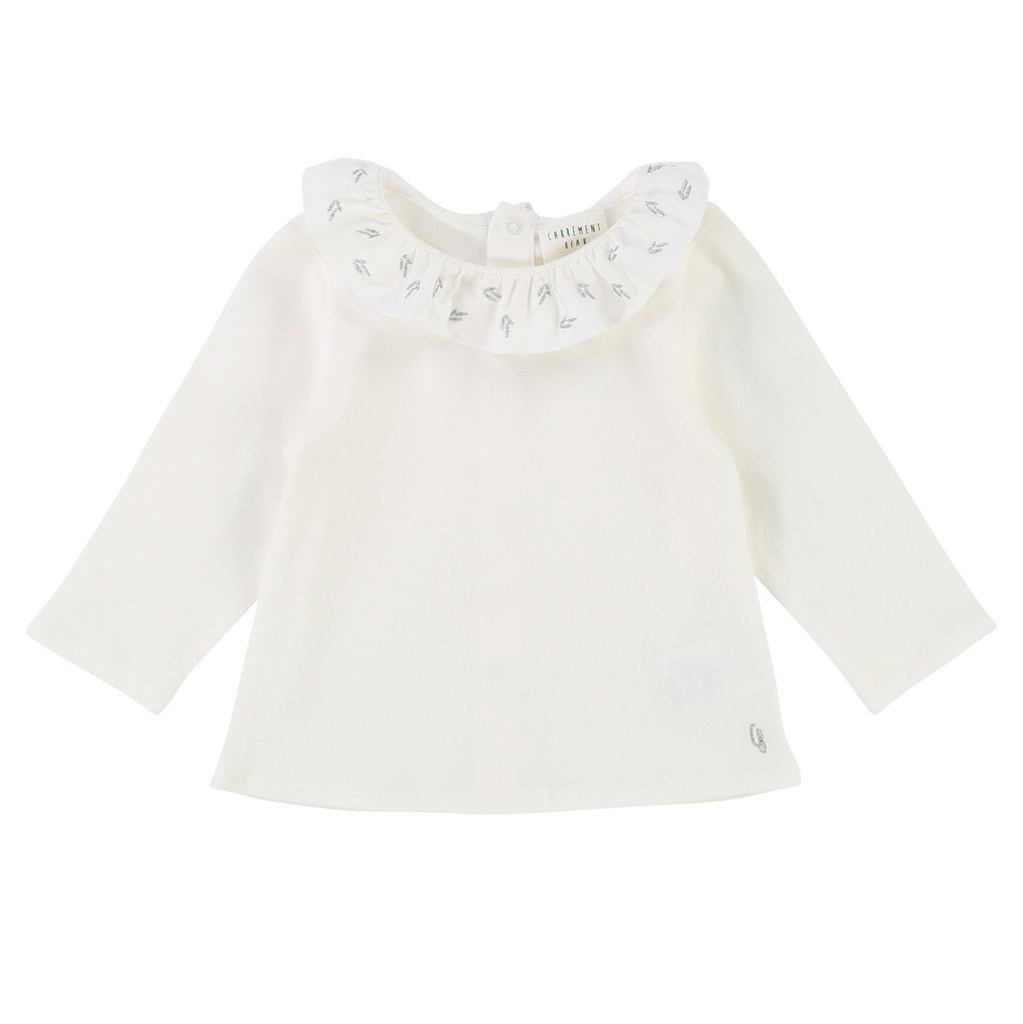 Baby Long Sleeve T-shirt with Poplin Ruffle Collar