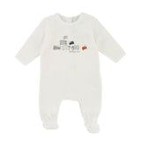 Baby Velour Backsnap Footie with Graphic Print