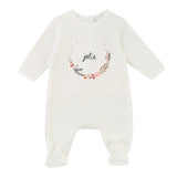 "Baby Velour Backsnap Footie with ""Jolie"" Wreath Print"