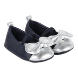 Baby Crib Shoes with Silver Bow