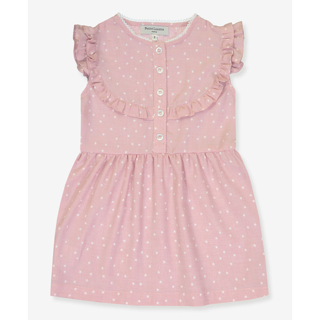 Girls Brigitte Dress - Pink Stars
