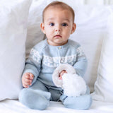 Mother-of-Pearl Deer Long-Sleeved Romper Suit - Cloud Blue