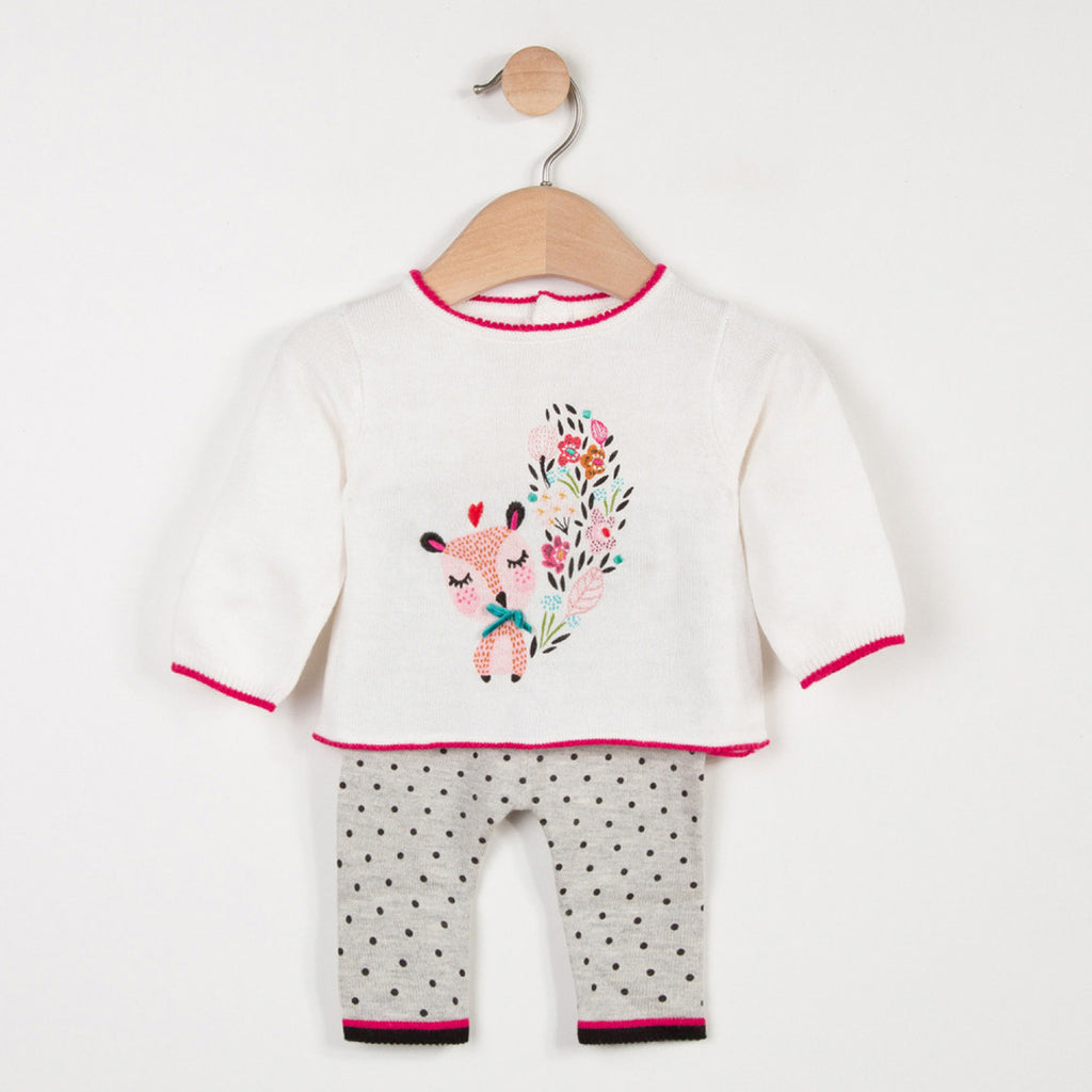 Baby Girls Knitted Set with Charming Pattern