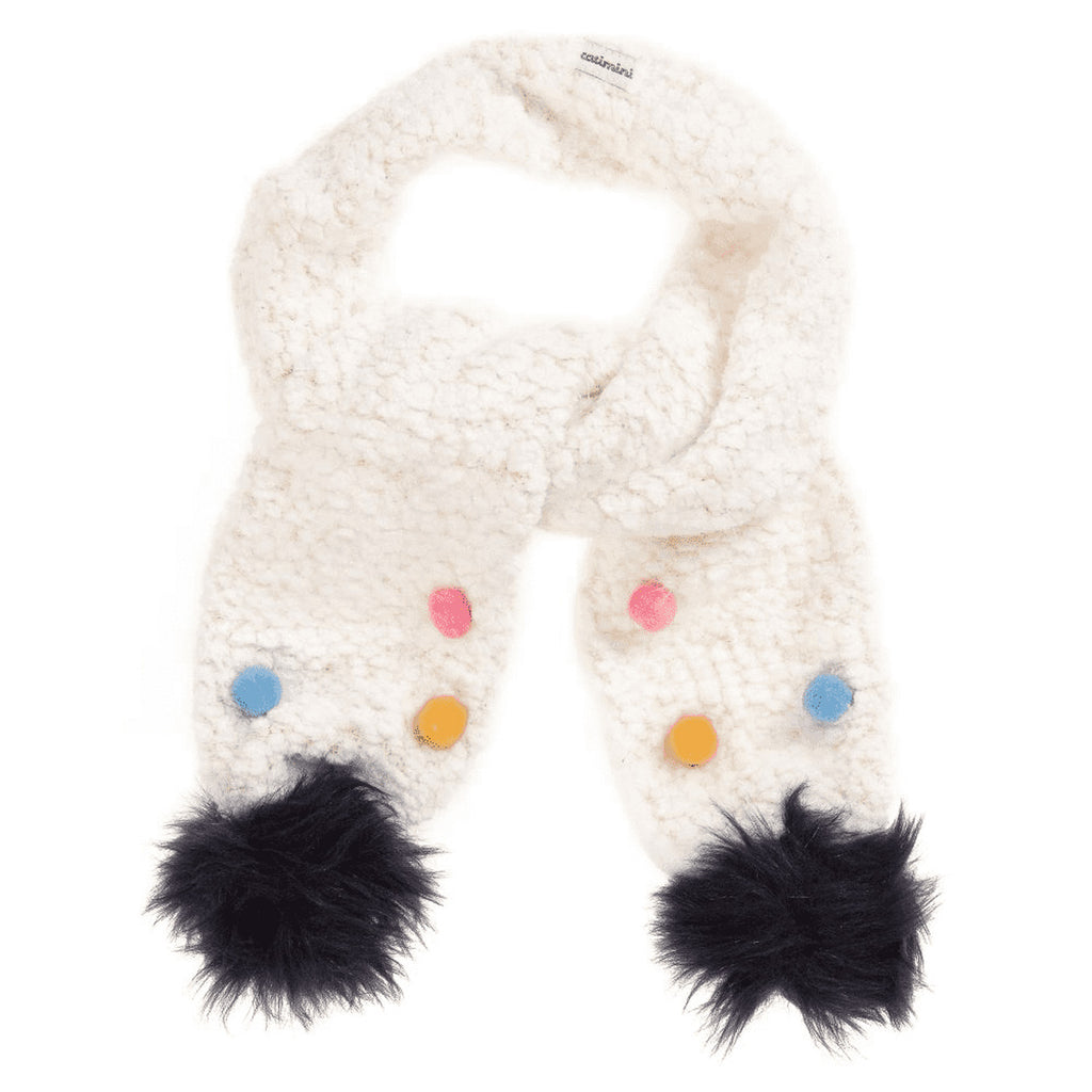 Fluffy Knitted Scarf with Pompoms