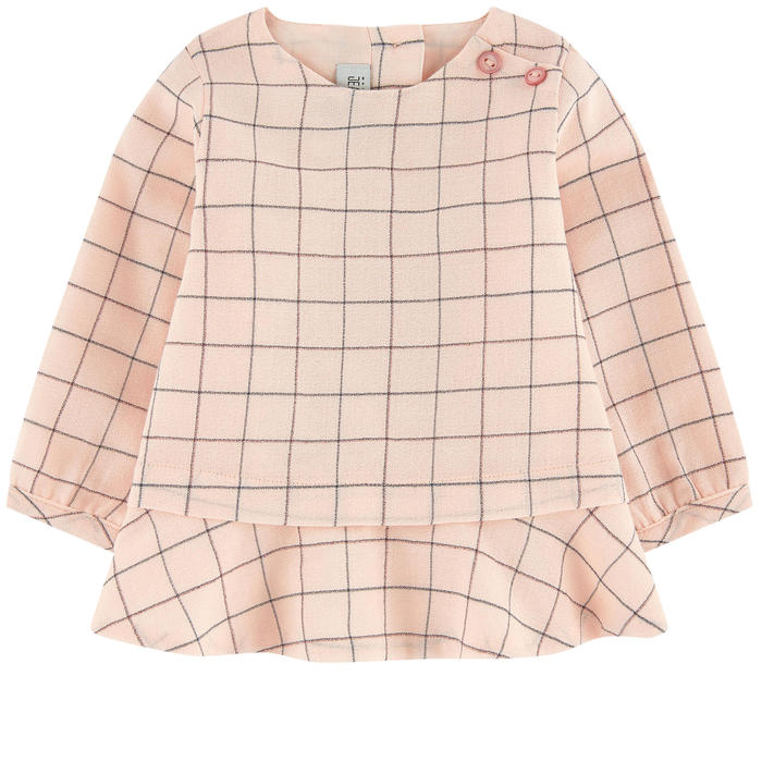 Soft Pink Checked Blouse
