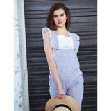 Women's Georgette Overall - Grey Stripes